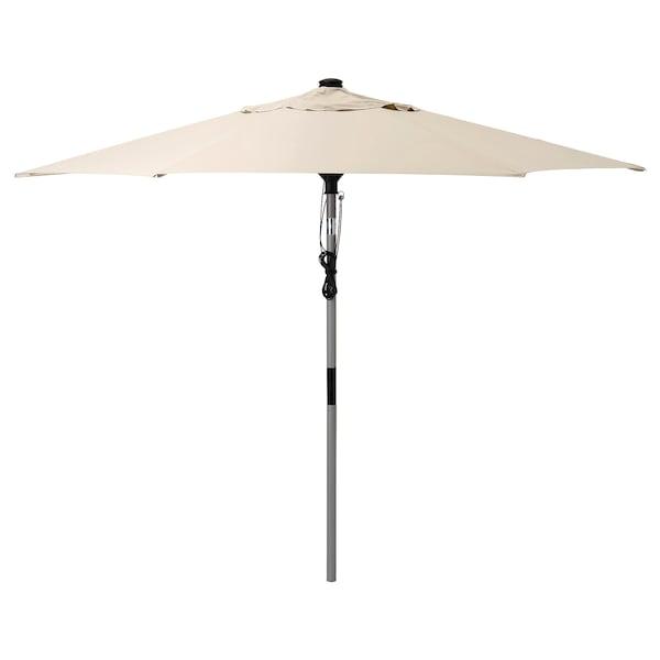 BETSÖ / LINDÖJA مظلة, رمادي مظهر الخشب/بيج, 300 سم