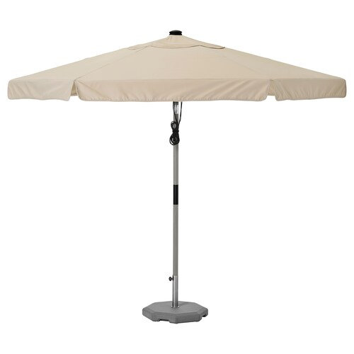 BETSÖ / VÅRHOLMEN parasol with base grey wood effect beige/Huvön 250 g/m² 262 cm 300 cm 48 mm