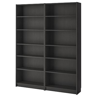 BILLY مكتبة, أسود-بني, 160x28x202 سم