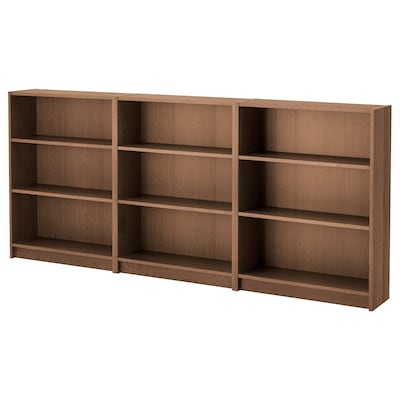 BILLY Bookcase, brown ash veneer, 240x28x106 cm