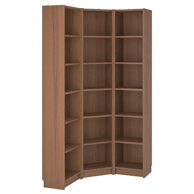 BILLY Bookcase combination/crnr solution, brown ash veneer, 95/95x28x202 cm
