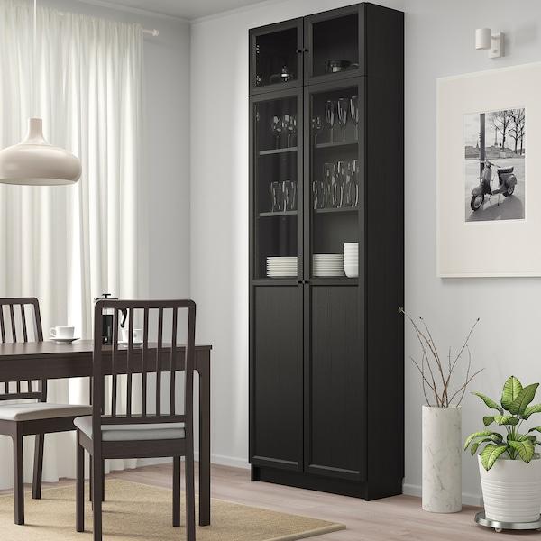 BILLY Bookcase w hght ext ut/pnl/glss drs, black-brown, 80x30x237 cm