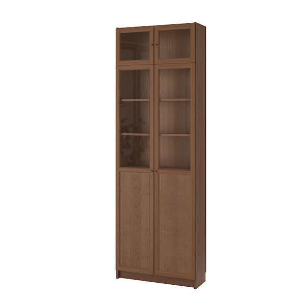 BILLY Bookcase w hght ext ut/pnl/glss drs, brown ash veneer, 80x30x237 cm