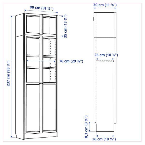BILLY Bookcase w hght ext ut/pnl/glss drs, white, 80x30x237 cm