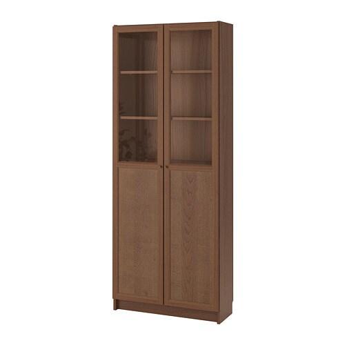 billy bookcase with panel glass doors brown ash veneer. Black Bedroom Furniture Sets. Home Design Ideas
