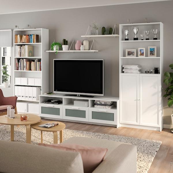 BILLY / BRIMNES مجموعة تخزين تليفزيون, أبيض, 340x41x202 سم