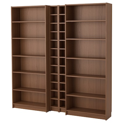 BILLY / GNEDBY Bookcase, brown ash veneer, 200x28x202 cm
