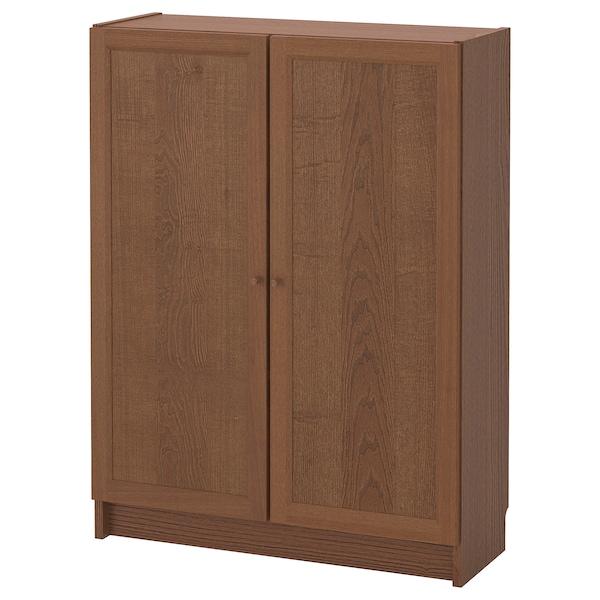 BILLY / OXBERG Bookcase with doors, brown ash veneer, 80x30x106 cm
