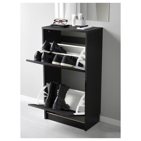 BISSA خزانة أحذية بمقصورتين, أسود/بني, 49x93 سم
