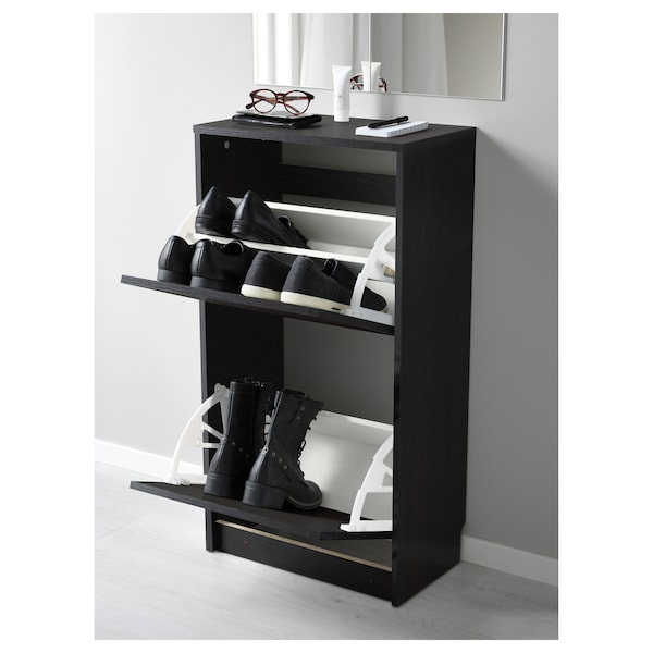 BISSA Shoe cabinet with 2 compartments, black/brown, 49x28x93 cm