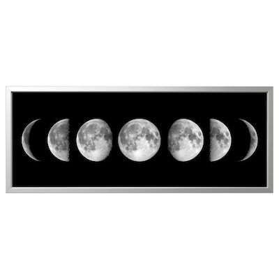 BJÖRKSTA Picture with frame, lunar phases/aluminium-colour, 140x56 cm