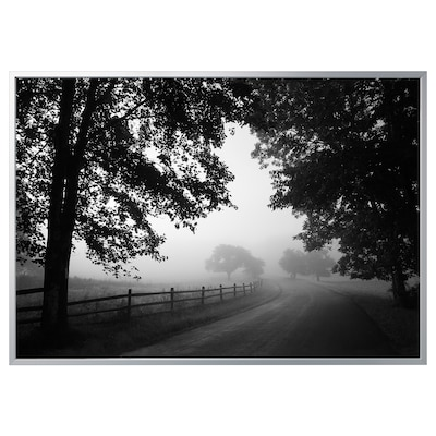BJÖRKSTA Picture with frame, misty country road/aluminium-colour, 200x140 cm