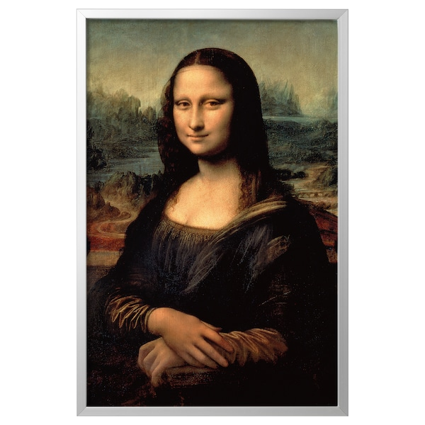 BJÖRKSTA صورة مع برواز, الموناليزا/لون الومونيوم, 78x118 سم