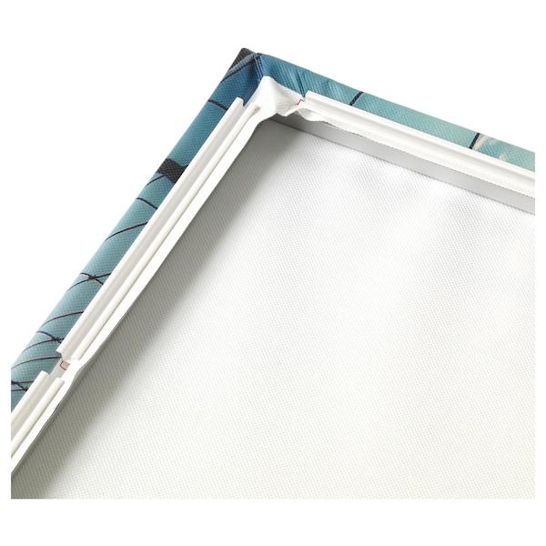 BJÖRKSTA Picture with frame, ocean lull/aluminium-colour, 140x56 cm