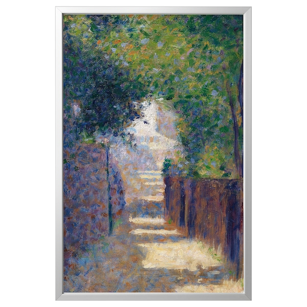 BJÖRKSTA Picture with frame, Rue St. Vincent in spring/aluminium-colour, 78x118 cm