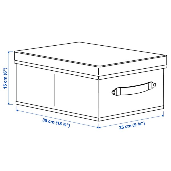 BLÄDDRARE Box with lid, grey/patterned, 25x35x15 cm