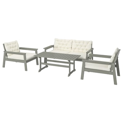 BONDHOLMEN 4-seat conversation set, outdoor, grey stained/Kuddarna beige