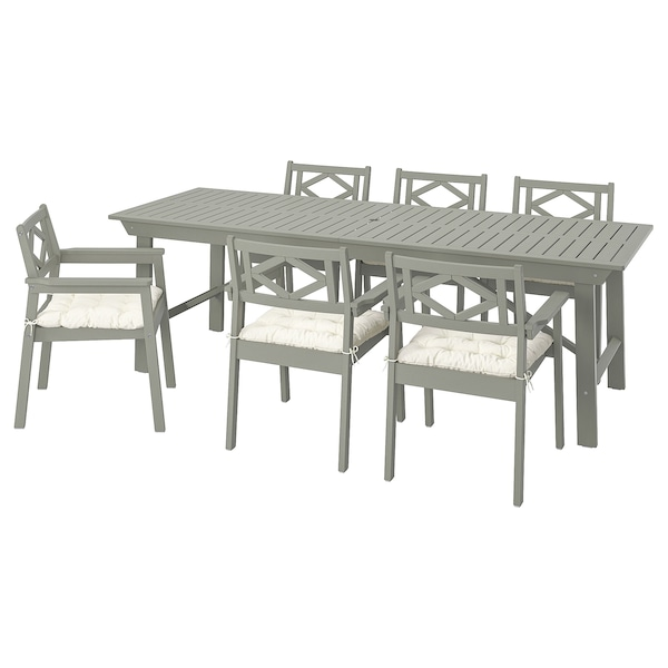 BONDHOLMEN Table+6 chairs w armrests, outdoor, grey stained/Kuddarna beige