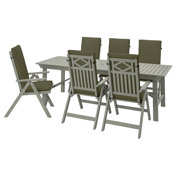 BONDHOLMEN Table+6 reclining chairs, outdoor, grey stained