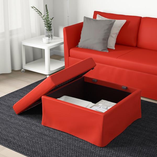 BRÅTHULT كنبة-سرير زاوية, Vissle أحمر/برتقالي