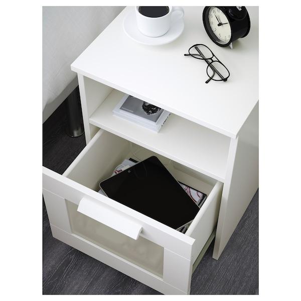 BRIMNES طاولة سرير جانبية, أبيض, 39x41 سم