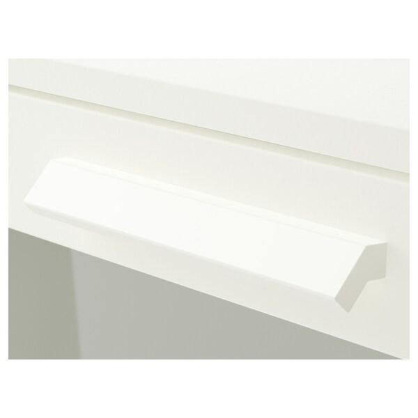 BRIMNES خزانة بـ 3 أدراج, أبيض/زجاج محبب, 78x95 سم