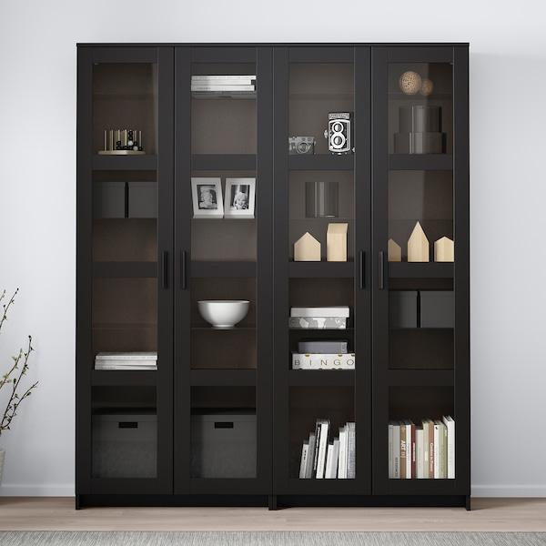 BRIMNES تشكيلة تخزين مع أبواب زجاجية, أسود, 160x35x190 سم