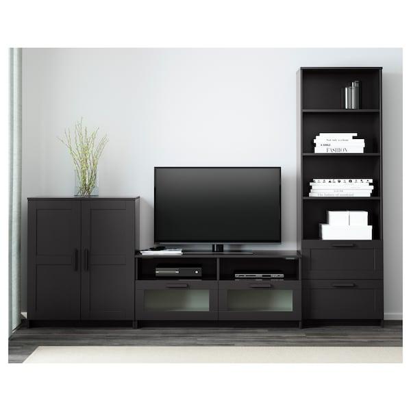 BRIMNES مجموعة تخزين تليفزيون, أسود, 258x41x190 سم