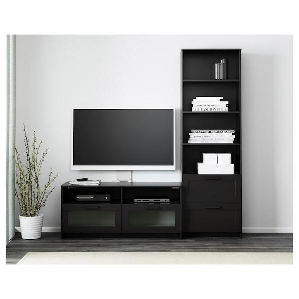 BRIMNES مجموعة تخزين تليفزيون, أسود, 180x41x190 سم