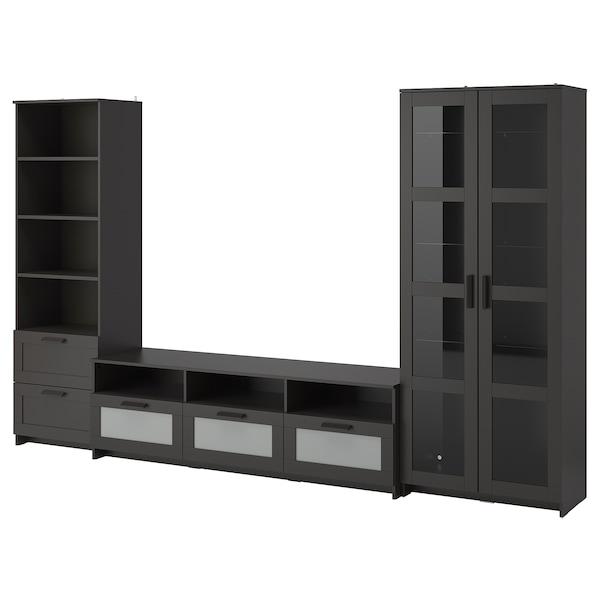 BRIMNES تشكيلة تخزين تلفزيون/أبواب زجاجية, أسود, 320x41x190 سم