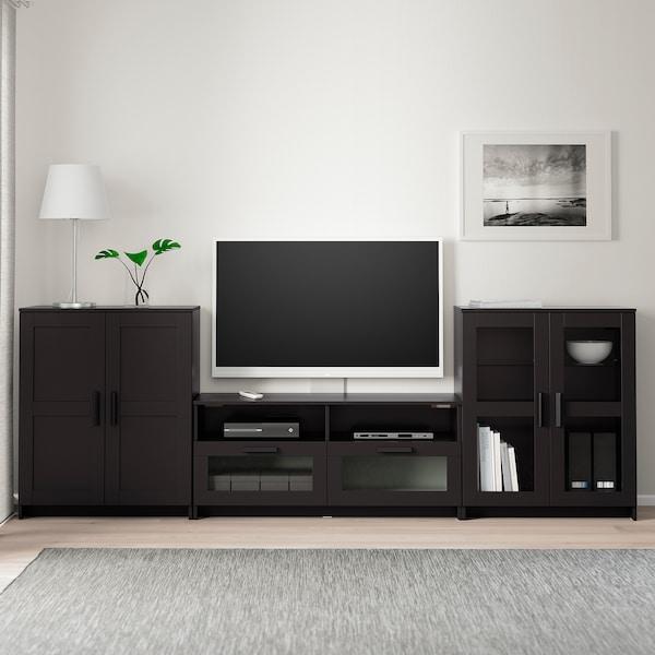 BRIMNES تشكيلة تخزين تلفزيون/أبواب زجاجية, أسود, 276x41x95 سم