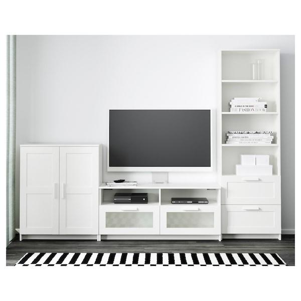 BRIMNES مجموعة تخزين تليفزيون, أبيض, 258x41x190 سم