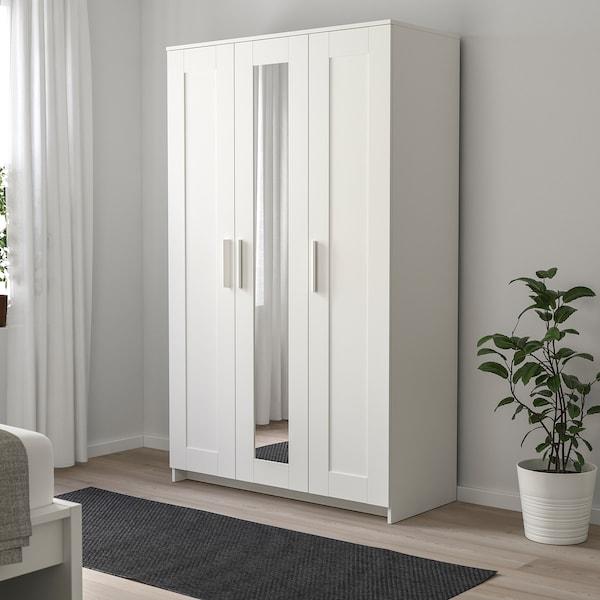 BRIMNES دولاب ملابس مع 3 أبواب, أبيض, 117x190 سم