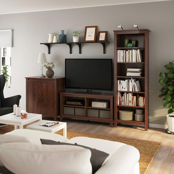 BRUSALI / BERGSHULT مجموعة تخزين تليفزيون, بني, 267x48x190 سم