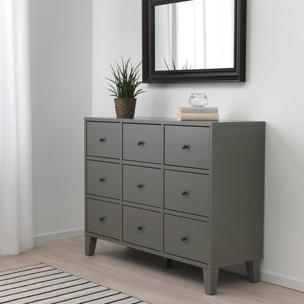 BRYGGJA Chest of 9 drawers, dark grey, 118x92 cm
