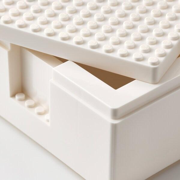 BYGGLEK LEGO® صندوق بغطاء، طقم من 3, أبيض