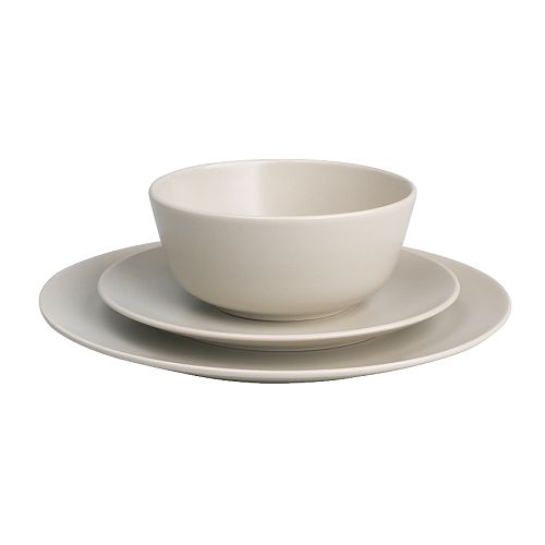 DINERA 18-piece service   With its simple shapes, muted colours and matt glaze, the dinnerware gives a rustic feel to your table setting.