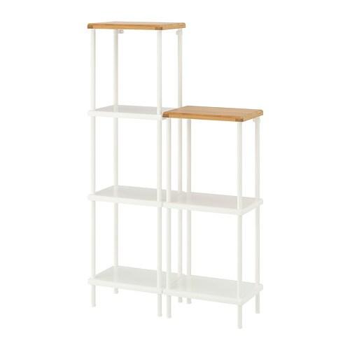 best service b364e 0cfe8 DYNAN Shelf unit, white, bamboo pattern