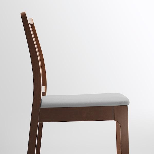 EKEDALEN مقعد مرتفع مع مسند ظهر, بني/Orrsta رمادي فاتح, 75 سم