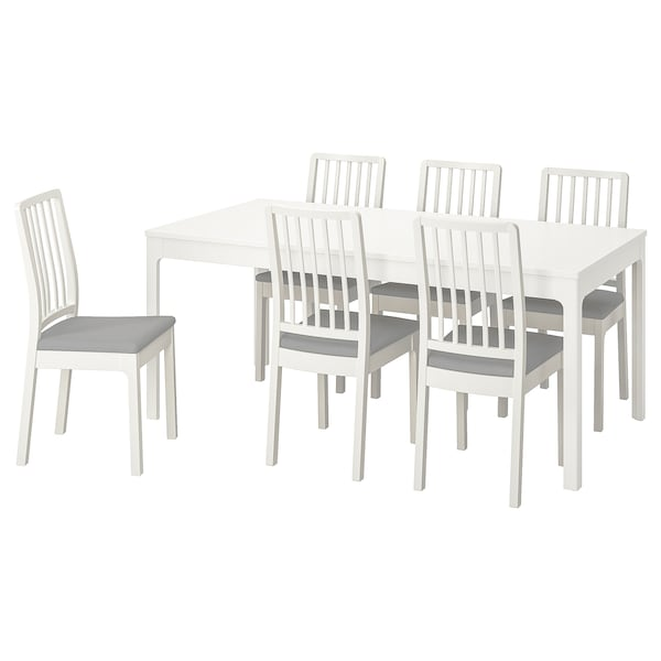EKEDALEN طاولة و 6 كراسي, أبيض/Orrsta رمادي فاتح, 180/240 سم