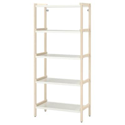 EKENABBEN Open shelving unit, aspen/white, 70x34x154 cm