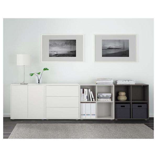EKET Cabinet combination with feet, white/light grey/dark grey, 280x35x72 cm