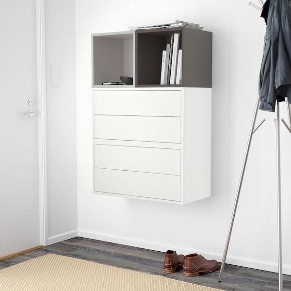EKET Wall-mounted cabinet combination, white light grey/dark grey, 70x35x105 cm