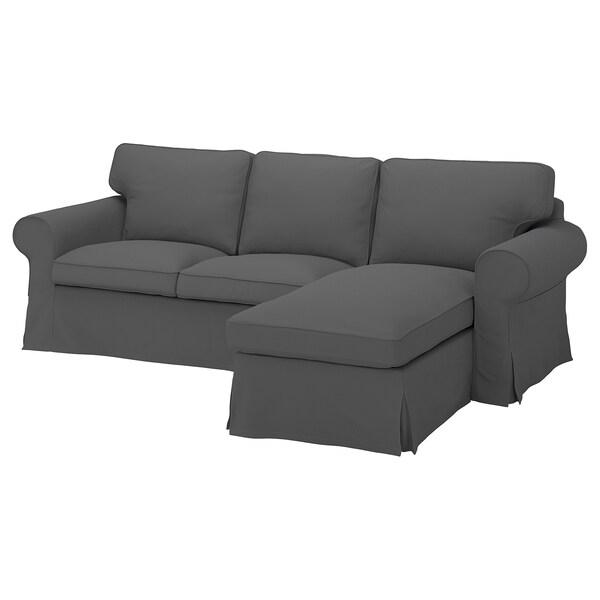 EKTORP كنبة بثلاث مقاعد مع أريكة طويلة, Hallarp رمادي