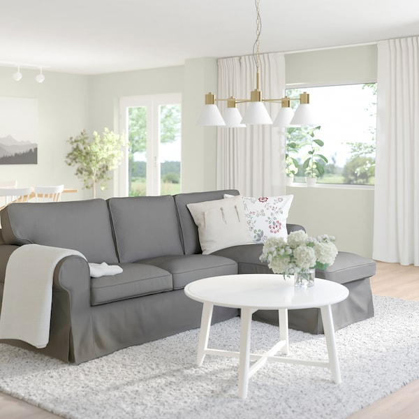 EKTORP 3-seat sofa with chaise longue, Remmarn light grey