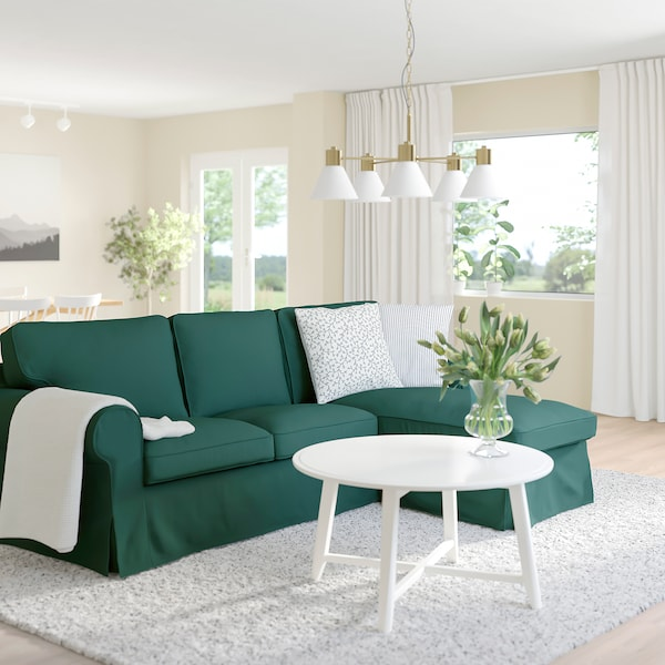 EKTORP 3-seat sofa with chaise longue, Totebo dark turquoise