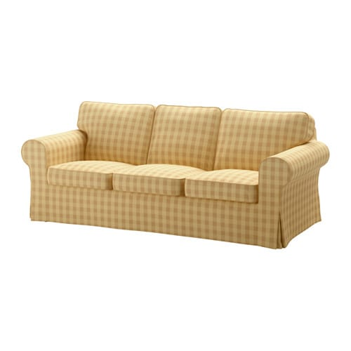 Ektorp Three Seat Sofa Skaftarp Yellow Ikea
