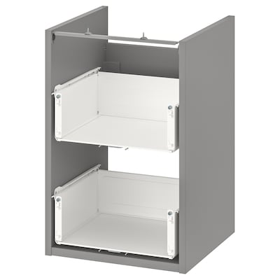 ENHET Base cb f washbasin w 2 drawers, grey, 40x40x60 cm