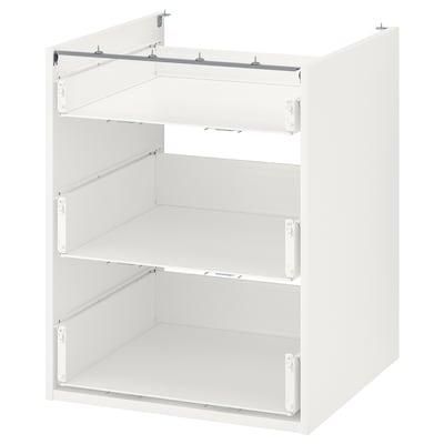 ENHET خزانة قاعدة مع 3 أدراج, أبيض, 60x60x75 سم
