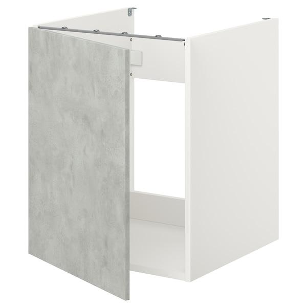 ENHET خزانة قاعدة لحوض/باب, أبيض/تأثيرات ماديّة., 60x62x75 سم